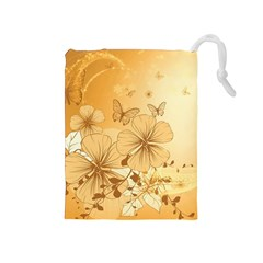 Wonderful Flowers With Butterflies Drawstring Pouches (Medium)
