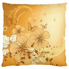 Wonderful Flowers With Butterflies Large Flano Cushion Cases (One Side)