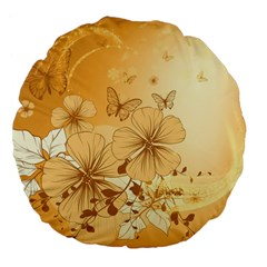 Wonderful Flowers With Butterflies Large 18  Premium Flano Round Cushions