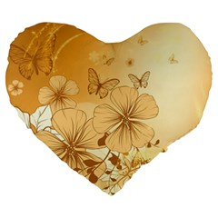 Wonderful Flowers With Butterflies Large 19  Premium Flano Heart Shape Cushions