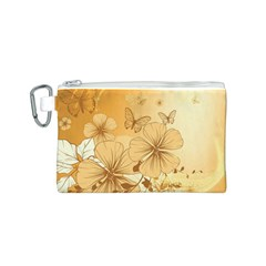 Wonderful Flowers With Butterflies Canvas Cosmetic Bag (S)