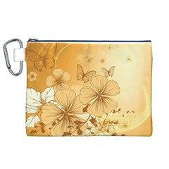 Wonderful Flowers With Butterflies Canvas Cosmetic Bag (XL)