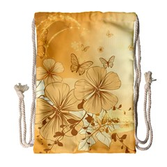 Wonderful Flowers With Butterflies Drawstring Bag (Large)