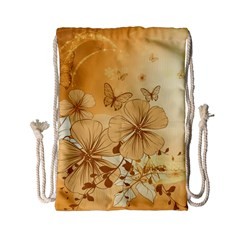 Wonderful Flowers With Butterflies Drawstring Bag (Small)