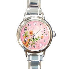 Beautiful Flowers On Soft Pink Background Round Italian Charm Watches
