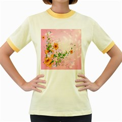 Beautiful Flowers On Soft Pink Background Women s Fitted Ringer T Shirts
