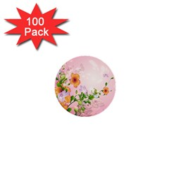 Beautiful Flowers On Soft Pink Background 1  Mini Buttons (100 pack)