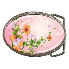 Beautiful Flowers On Soft Pink Background Belt Buckles