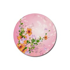 Beautiful Flowers On Soft Pink Background Rubber Round Coaster (4 pack)