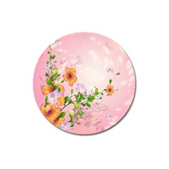 Beautiful Flowers On Soft Pink Background Magnet 3  (Round)