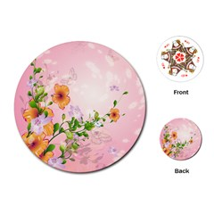 Beautiful Flowers On Soft Pink Background Playing Cards (Round)