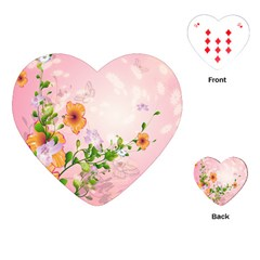 Beautiful Flowers On Soft Pink Background Playing Cards (Heart)