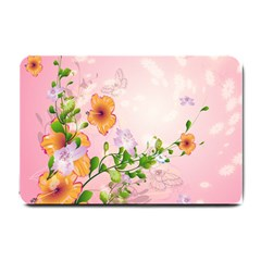 Beautiful Flowers On Soft Pink Background Small Doormat