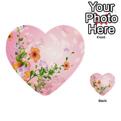 Beautiful Flowers On Soft Pink Background Multi-purpose Cards (Heart)