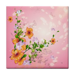 Beautiful Flowers On Soft Pink Background Face Towel
