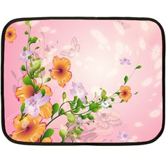 Beautiful Flowers On Soft Pink Background Double Sided Fleece Blanket (Mini)