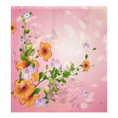 Beautiful Flowers On Soft Pink Background Shower Curtain 66  X 72  (large)