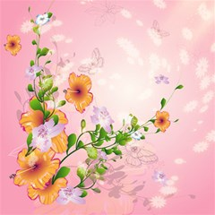 Beautiful Flowers On Soft Pink Background Magic Photo Cubes