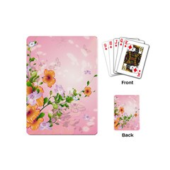 Beautiful Flowers On Soft Pink Background Playing Cards (Mini)