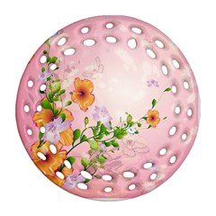 Beautiful Flowers On Soft Pink Background Ornament (Round Filigree)