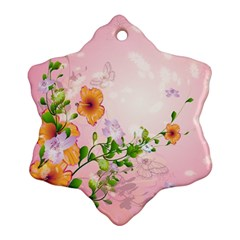 Beautiful Flowers On Soft Pink Background Snowflake Ornament (2 Side)
