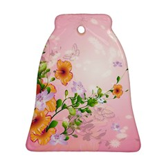 Beautiful Flowers On Soft Pink Background Bell Ornament (2 Sides)