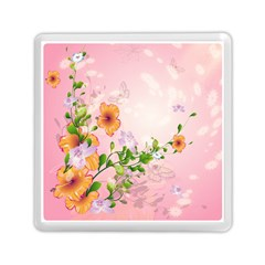 Beautiful Flowers On Soft Pink Background Memory Card Reader (Square)