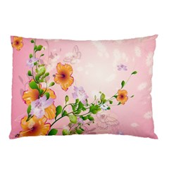 Beautiful Flowers On Soft Pink Background Pillow Cases (Two Sides)
