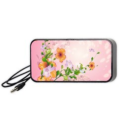 Beautiful Flowers On Soft Pink Background Portable Speaker (Black)