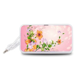 Beautiful Flowers On Soft Pink Background Portable Speaker (White)