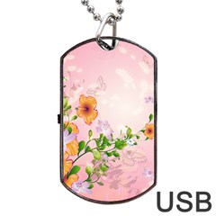 Beautiful Flowers On Soft Pink Background Dog Tag Usb Flash (one Side)