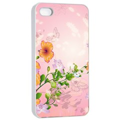Beautiful Flowers On Soft Pink Background Apple Iphone 4/4s Seamless Case (white)