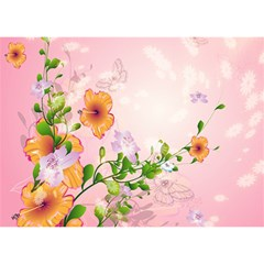 Beautiful Flowers On Soft Pink Background Birthday Cake 3d Greeting Card (7x5)