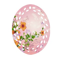 Beautiful Flowers On Soft Pink Background Ornament (Oval Filigree)