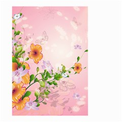Beautiful Flowers On Soft Pink Background Small Garden Flag (Two Sides)