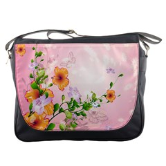 Beautiful Flowers On Soft Pink Background Messenger Bags