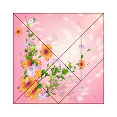 Beautiful Flowers On Soft Pink Background Acrylic Tangram Puzzle (6  x 6 )