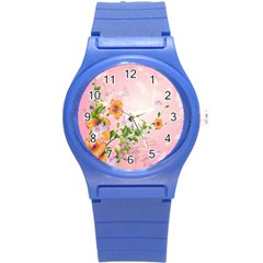 Beautiful Flowers On Soft Pink Background Round Plastic Sport Watch (S)