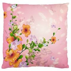 Beautiful Flowers On Soft Pink Background Large Cushion Cases (Two Sides)