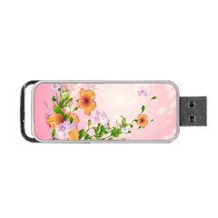 Beautiful Flowers On Soft Pink Background Portable USB Flash (Two Sides)