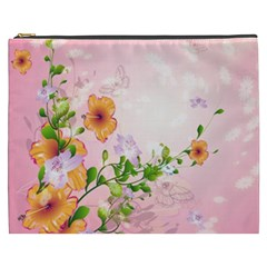 Beautiful Flowers On Soft Pink Background Cosmetic Bag (XXXL)