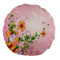 Beautiful Flowers On Soft Pink Background Large 18  Premium Round Cushions