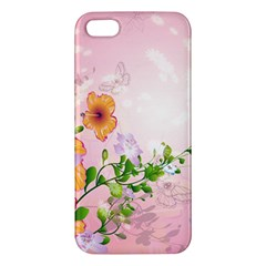 Beautiful Flowers On Soft Pink Background Apple iPhone 5 Premium Hardshell Case