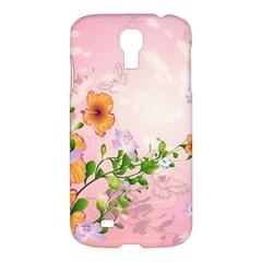 Beautiful Flowers On Soft Pink Background Samsung Galaxy S4 I9500/I9505 Hardshell Case