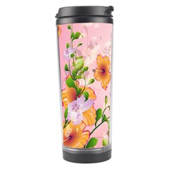 Beautiful Flowers On Soft Pink Background Travel Tumblers