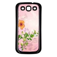Beautiful Flowers On Soft Pink Background Samsung Galaxy S3 Back Case (Black)