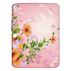 Beautiful Flowers On Soft Pink Background Samsung Galaxy Tab 3 (10.1 ) P5200 Hardshell Case