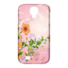 Beautiful Flowers On Soft Pink Background Samsung Galaxy S4 Classic Hardshell Case (PC+Silicone)