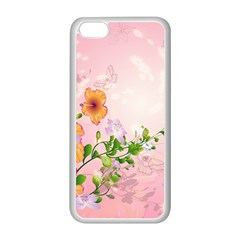 Beautiful Flowers On Soft Pink Background Apple iPhone 5C Seamless Case (White)
