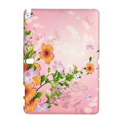 Beautiful Flowers On Soft Pink Background Samsung Galaxy Note 10.1 (P600) Hardshell Case